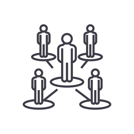 リーダーシップ ネットワーク、マルチ レベル マーケティング、マルチ商法ベクトル線アイコン、記号、白い背景に、編集可能なストロークの図