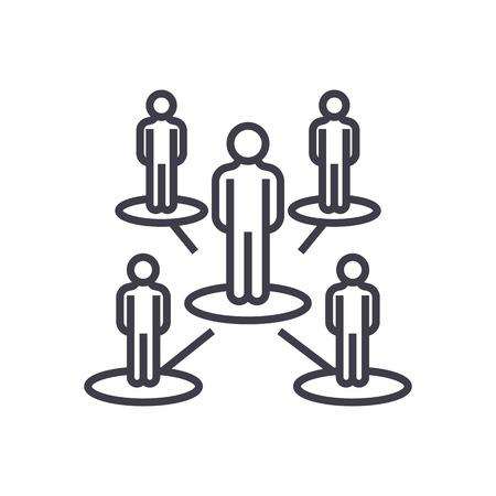 leadership network,multilevel marketing,mlm vector line icon, sign, illustration on white background, editable strokes