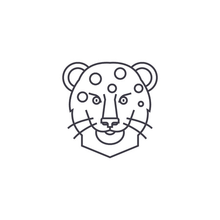 silueta de gato: leopard head vector line icon, sign, illustration on white background, editable strokes