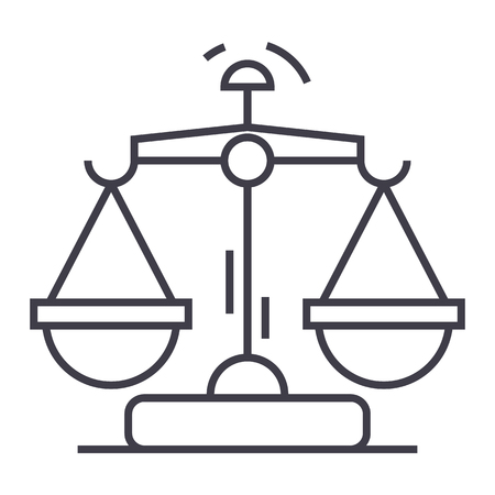 law and justice vector line icon, sign, illustration on white background, editable strokes 向量圖像