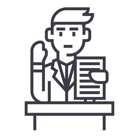 Lecturer,speech,professional speaker line icon, sign, illustration on white background, editable strokes Illusztráció