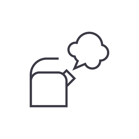 Kettle with steam line icon, sign, illustration on white background, editable strokes