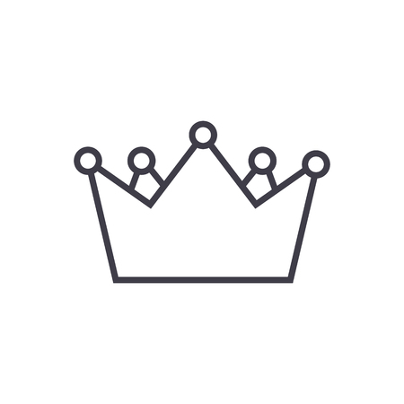 kings crown vector line icon, sign, illustration on white background, editable strokes Illustration
