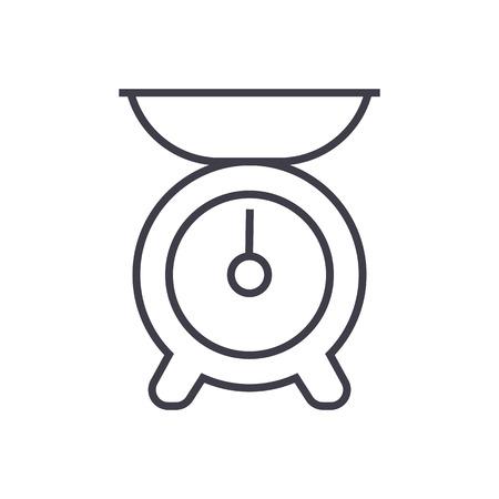 keuken gewicht vector lijn pictogram, teken, illustratie op witte achtergrond, bewerkbare lijnen Stock Illustratie