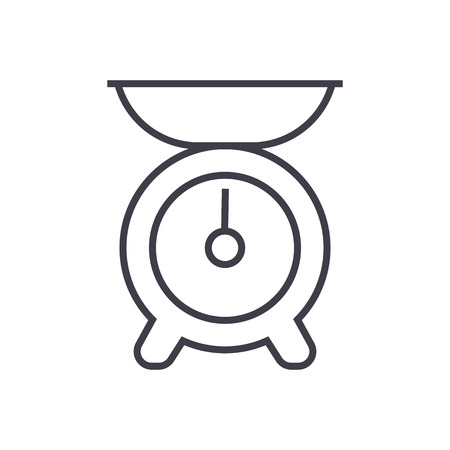 kitchen weight vector line icon, sign, illustration on white background, editable strokes