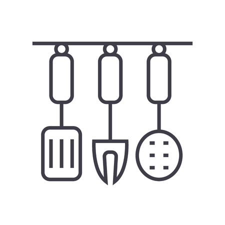 kitchenware, kitchen accessories vector line icon, sign, illustration on white background, editable strokes 向量圖像