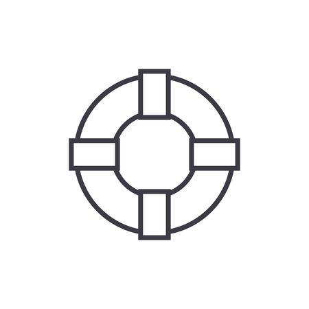 Icône de ligne vector lifebuoy signe, signe, illustration sur fond blanc, coups modifiables Banque d'images - 87284987