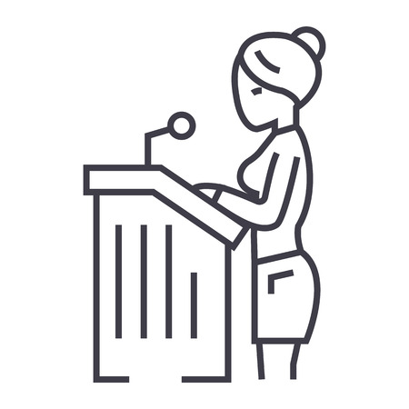 변호사 여자, 법정에서 연설 벡터 라인 아이콘, 기호, 흰색 배경에 그림 편집 가능한 획