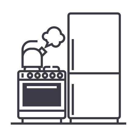 keuken, koelkast, fornuis, waterkoker vector lijn pictogram, teken, illustratie op witte achtergrond bewerkbare lijnen