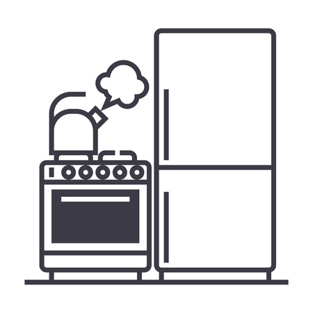 kitchen,refrigerator, stove, kettle vector line icon, sign, illustration on white background editable strokes