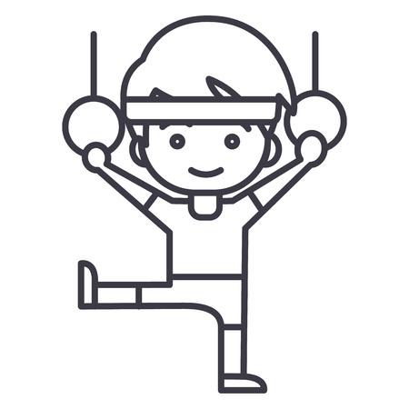 man aerobics,workout,gymnastics rings vector line icon, sign, illustration on white background, editable strokes 向量圖像