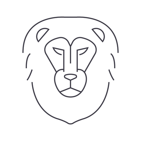 silueta de gato: lion head vector line icon, sign, illustration on white background, editable strokes