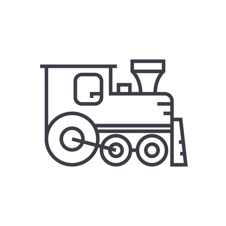 locomotive vector line icon, sign, illustration on white background, editable strokes