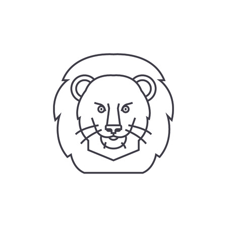 silueta de gato: lion illustration head vector line icon, sign, illustration on white background, editable strokes