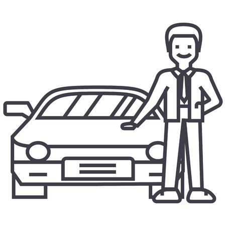 man with new car,auto dealership,buying a vehicle vector line icon, sign, illustration on white background, editable strokes Illustration