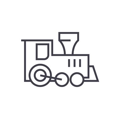 Lokomotive Zug Spielzeug Vektor Liniensymbol, Zeichen, Illustration auf weißem Hintergrund, editierbare Striche Standard-Bild - 87285018
