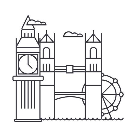 Londen vector lijn pictogram, teken, illustratie op witte achtergrond, bewerkbare lijnen