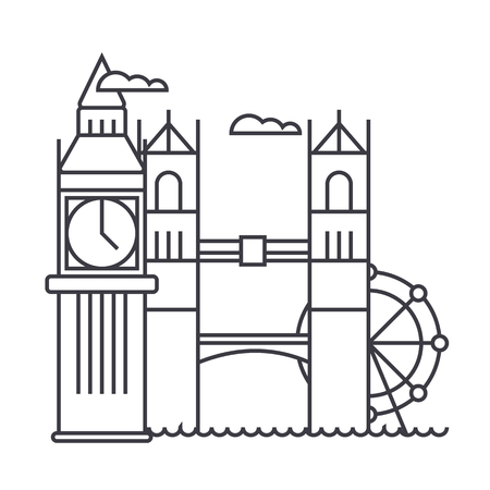 british culture: london vector line icon, sign, illustration on white background, editable strokes