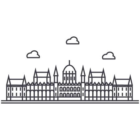 ロンドン議会ベクトル線アイコン、記号、白い背景に、編集可能なストロークの図