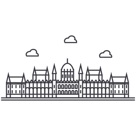 london parliament vector line icon, sign, illustration on white background, editable strokes