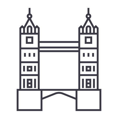 london tower bridge vector line icon, sign, illustration on white background, editable strokes Иллюстрация