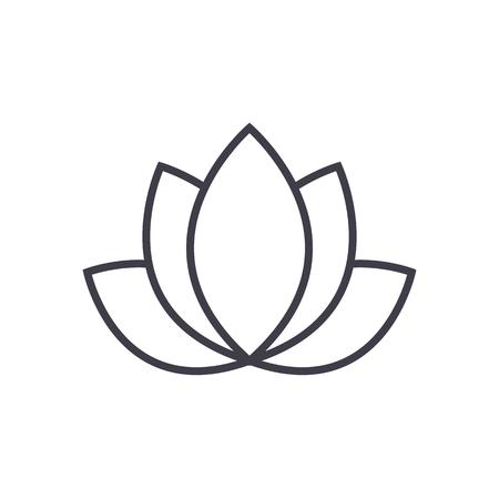 로터스, 인도 벡터 라인 아이콘, 기호, 흰색 배경에 그림 편집 가능한 획