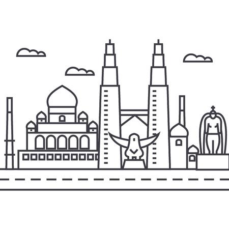 말레이시아, 쿠알라 룸푸르 벡터 라인 아이콘, 기호, 흰색 배경에 그림 편집 가능한 획