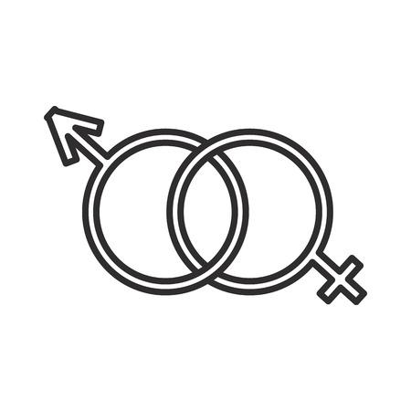 male and female genders vector line icon. Illusztráció