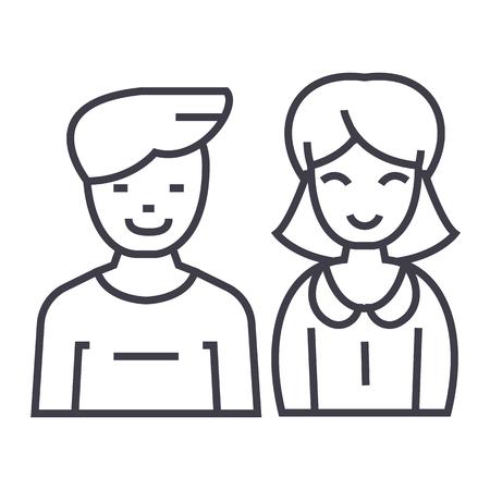 남자와 여자, 벡터 라인 아이콘, 기호, 흰색 배경에 그림 편집 가능한 획