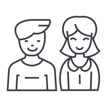 man and woman, vector line icon, sign, illustration on white background, editable strokes