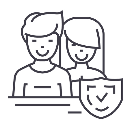 switchboard operator: man and woman,front,shield vector line icon, sign, illustration on white background, editable strokes Illustration