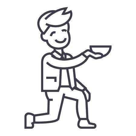 男を得る 1 つの膝のベクター線のアイコン、記号、白い背景に、編集可能なストロークの図