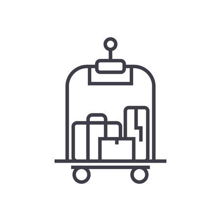 luggage in hotel vector line icon, sign, illustration on white background, editable strokes