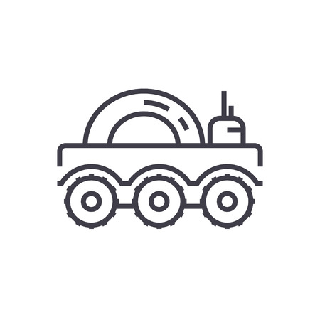 lunar vehicle vector line icon, sign, illustration on white background, editable strokes