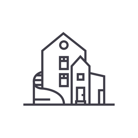 luxury house,detached mansion vector line icon, sign, illustration on white background, editable strokes