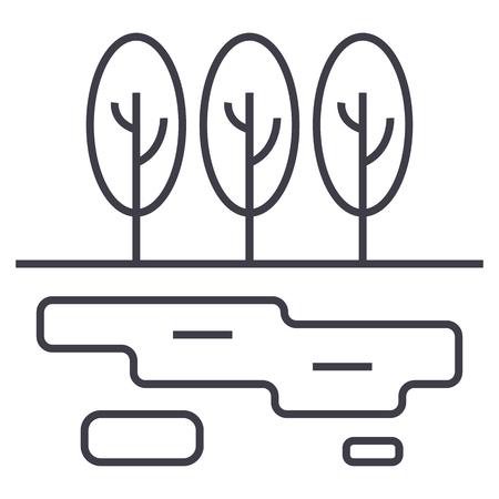 マーシュ, 湖ベクトル線のアイコン, 記号, 白の背景にイラスト, 編集可能なストローク