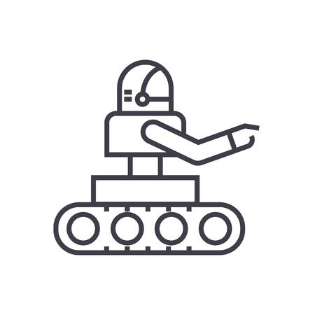 manufacturing robot vector line icon, sign, illustration on white background, editable strokes