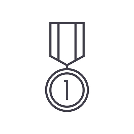 medal vector line icon, sign, illustration on white background, editable strokes