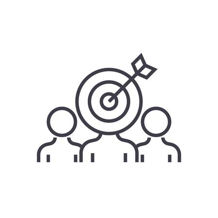 マーケティング視聴者エンゲージメント ベクトル線アイコン、記号、白い背景に、編集可能なストロークの図  イラスト・ベクター素材