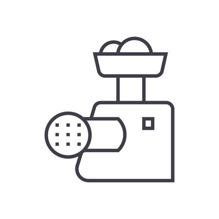 vleesmolen vector lijn pictogram, teken, illustratie op witte achtergrond, bewerkbare lijnen