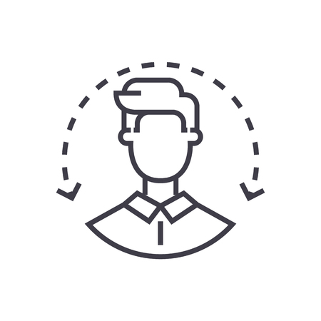human resources, target audience,client service vector line icon, sign, illustration on white background, editable strokes