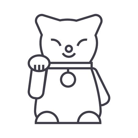 maneki neko vector line icon, sign, illustration on white background, editable strokes