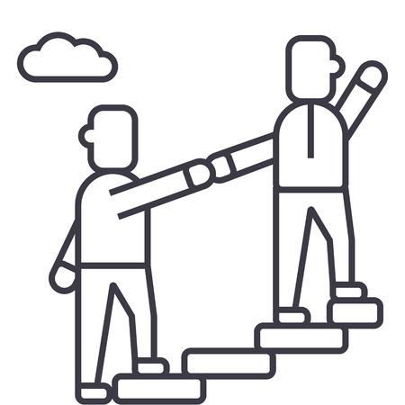 メンター、支援、メンタリング、目標ベクトルラインのアイコン、記号、白の背景にイラスト、編集可能なストロークを達成