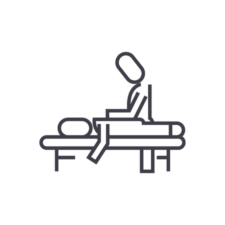 manual therapy,massage,spa,osteopathy vector line icon, sign, illustration on white background, editable strokes