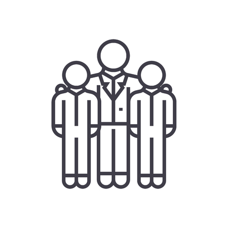 potential: mentor,mentorship,coaching vector line icon, sign, illustration on white background, editable strokes