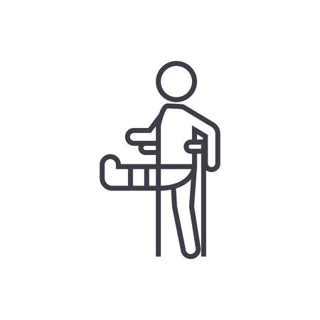 man met gebroken been, gips voet kruk vector lijn pictogram, teken, illustratie op witte achtergrond, bewerkbare lijnen Vector Illustratie