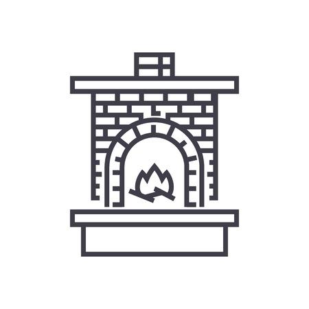 벽돌 난방기, 화재와 벽돌 굴뚝 벽난로 벡터 라인 아이콘, 기호, 흰색 배경에 그림 편집 가능한 획