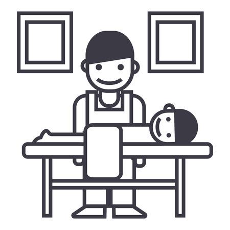 안마사, 척추 지압사 벡터 라인 아이콘, 기호, 흰색 배경에 그림 편집 가능한 획