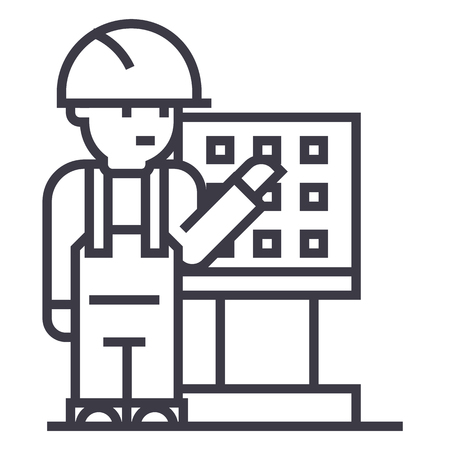 maître, contremaître, ingénieur avec icône ligne machine-outil de vecteur, signe, illustration sur fond blanc, traits modifiables