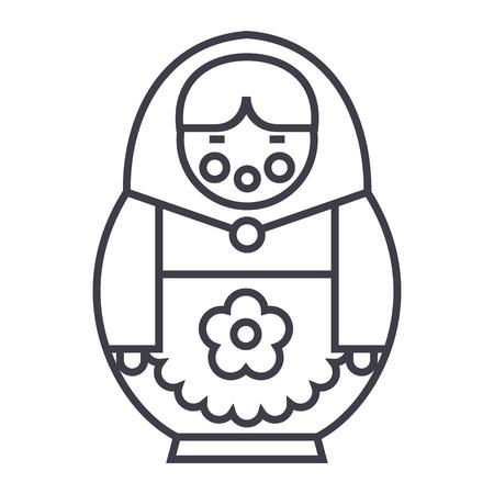 matryoshka 벡터 라인 아이콘, 기호, 흰색 배경에 그림 편집 가능한 획 일러스트
